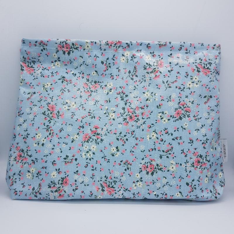 Grande pochette |Bleu ciel fleuri | Boutique Meli Melo
