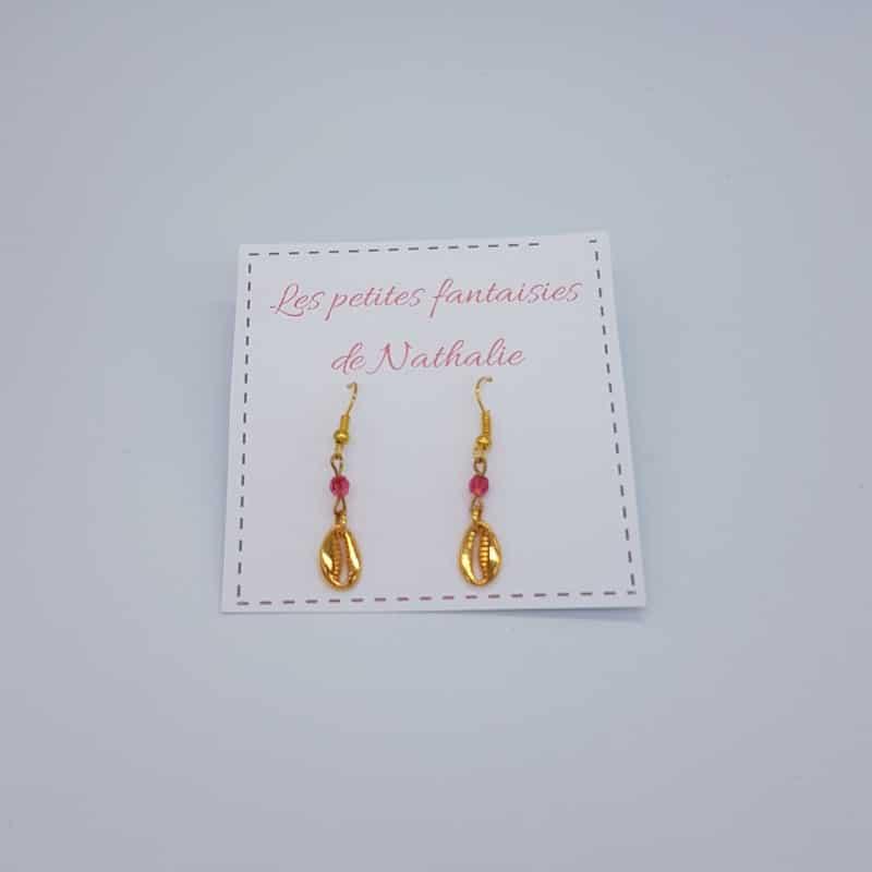 Boucles d'oreilles   Coquillage doré   Boutique Meli Melo